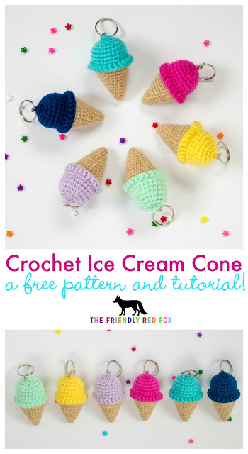Crochet Keychain Pattern- Ice Cream Cone