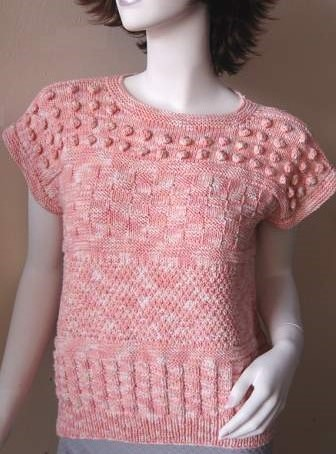 This is a fun pullover to make and practice a variety of stitches in bands across the body of the sweater.