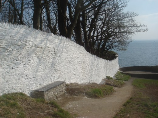 White wall in Moville's Bath Green
