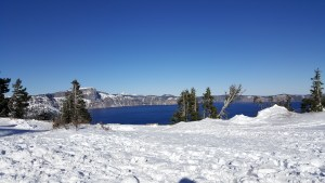 Crater Lake with snow in winter.