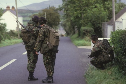 Soldiers on Patrol. Unknown Location.