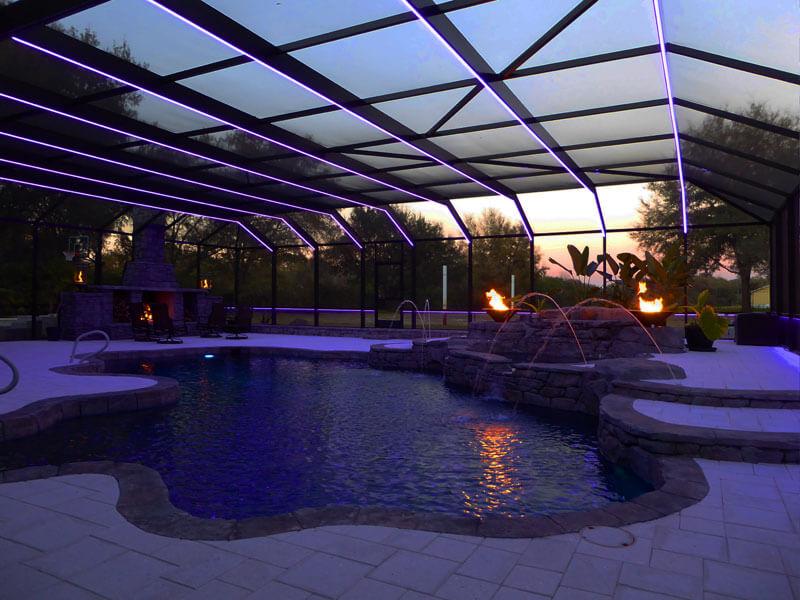 led lighting pool lanai cage