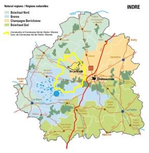 Les différentes régions naturelles du département de l'Indre