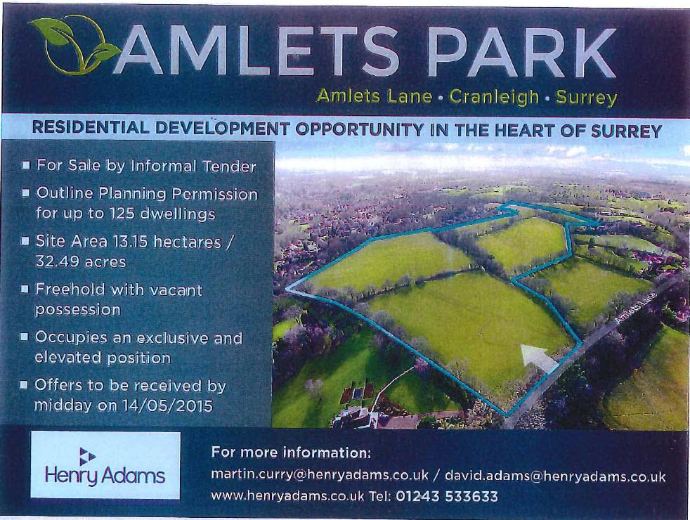 Amlets Lane Cranleigh Site for sale advert Henry Adams