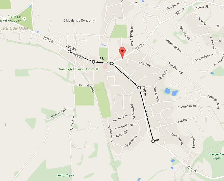 Crest Nicholson distance to Cranleigh High Street