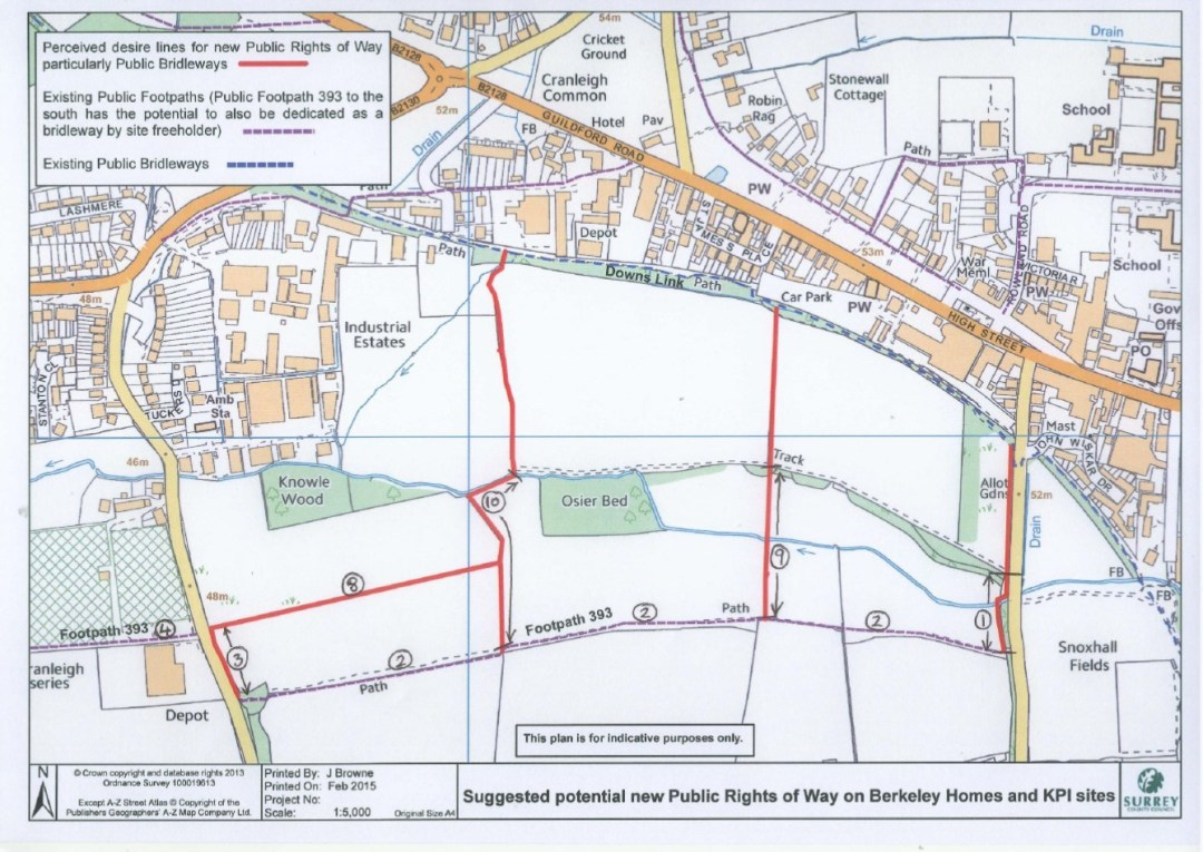 West Cranleigh Nurseries map new footpaths over The Maples site