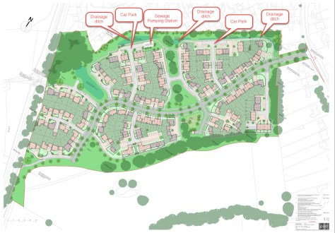 Horsham Road site housing layout Crest Nicholson