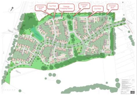 Horsham Road site housing layout Crest Nicholson