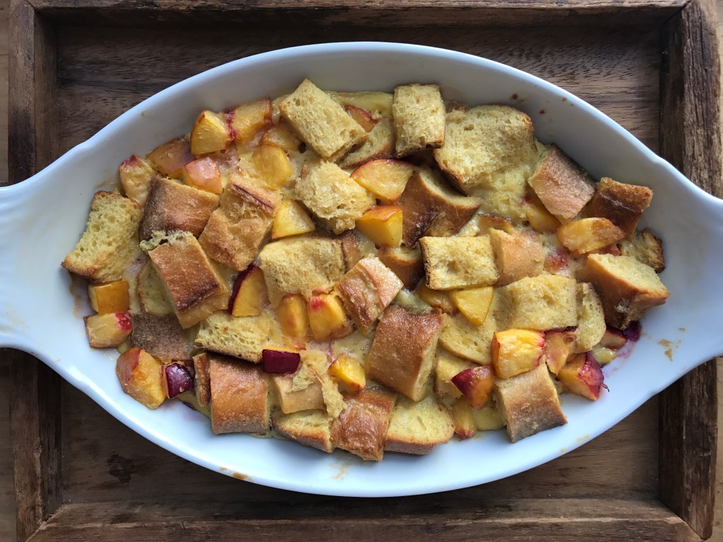 Crate Cooking Summer Easy Basic Simple Recipes Ingredients Seasonal dessert nectarine bread pudding baked dish brunch
