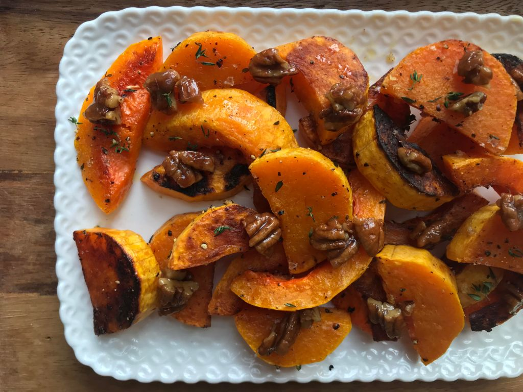 Crate Cooking Fall Autumn Easy Basic Simple Recipes Ingredients Thanksgiving Holidays Christmas December Local Roots Roasted Winter Squash Candied Maple Pecans