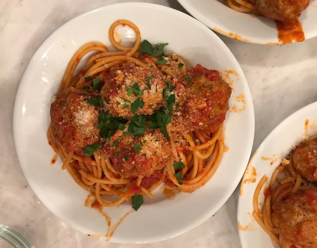 crate cooking spring winter seasonal recipe simple easy valentine's meal husband wife cook spaghetti sausage meatballs tomato sauce cheese