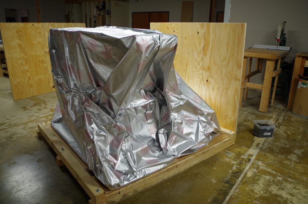 vapor barrier with custom crate