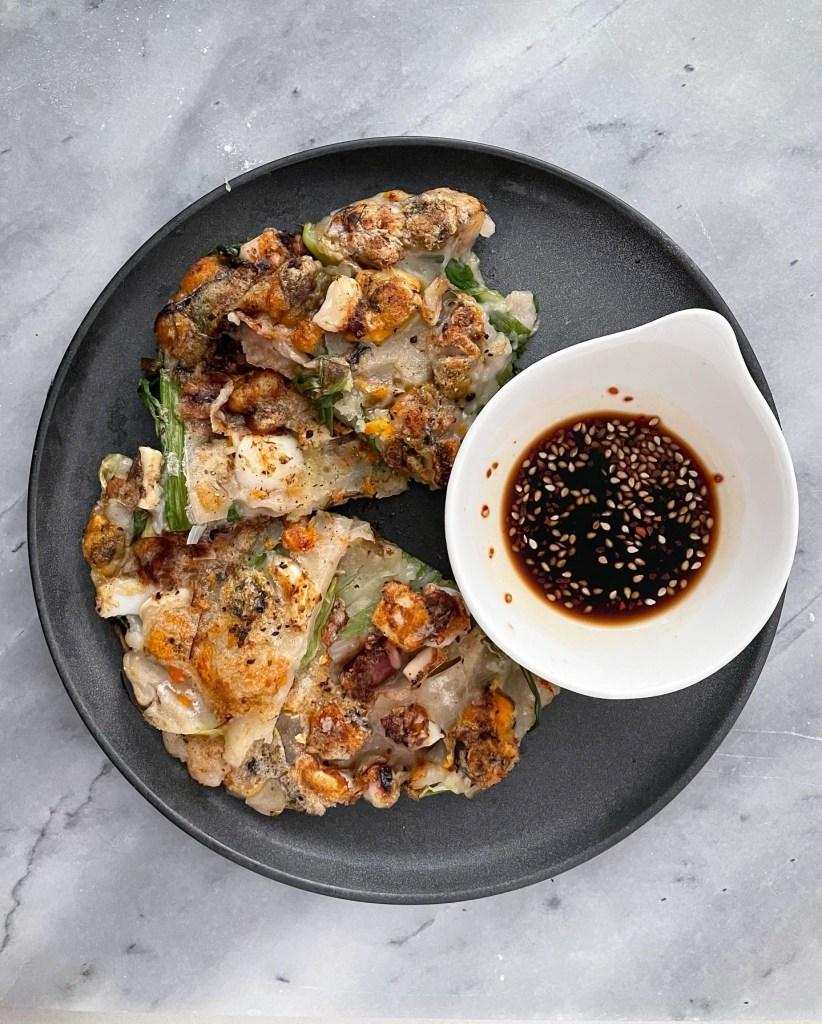 sourdough discard seafood scallion pancakes