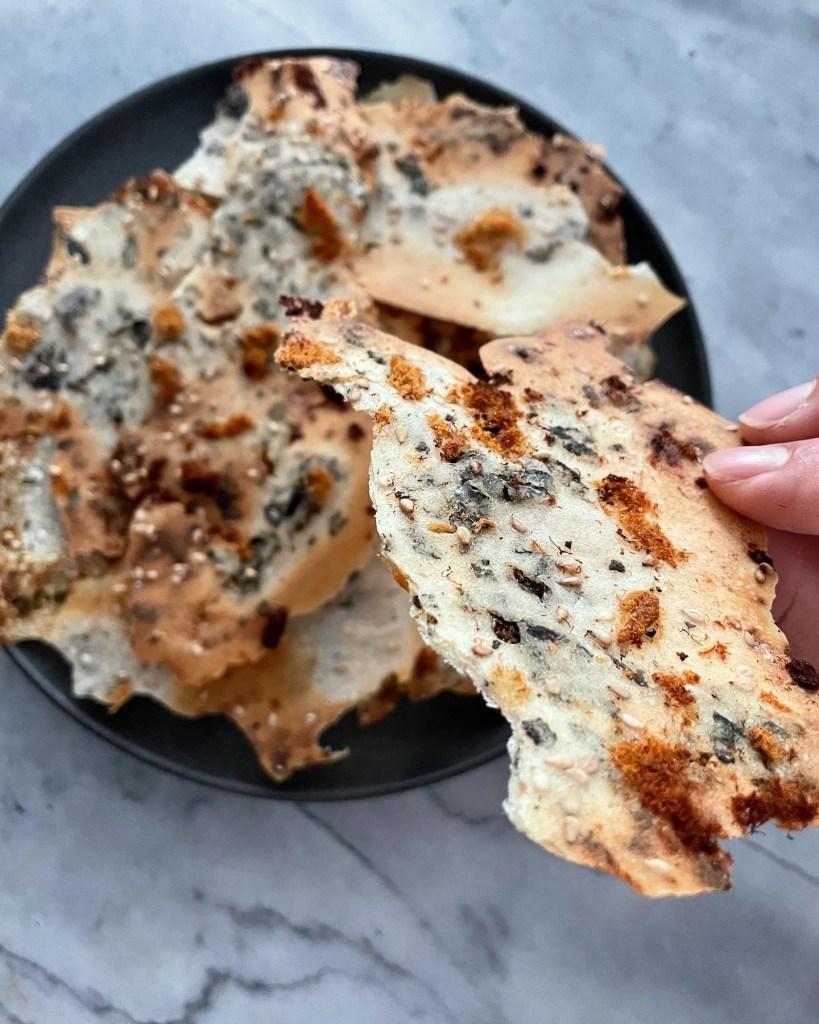 pork sung & furikake sourdough crisps