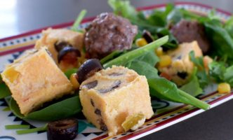 Green Chili Meatballs with Polenta Croutons-010