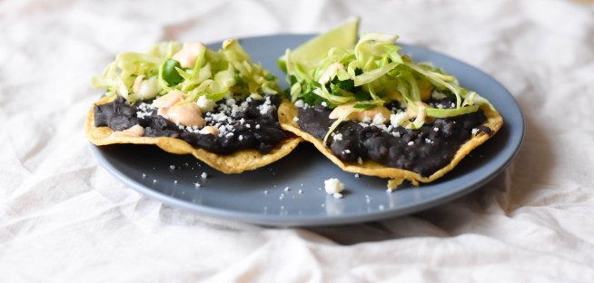 Black Bean Tostadas with Chipotle Crema