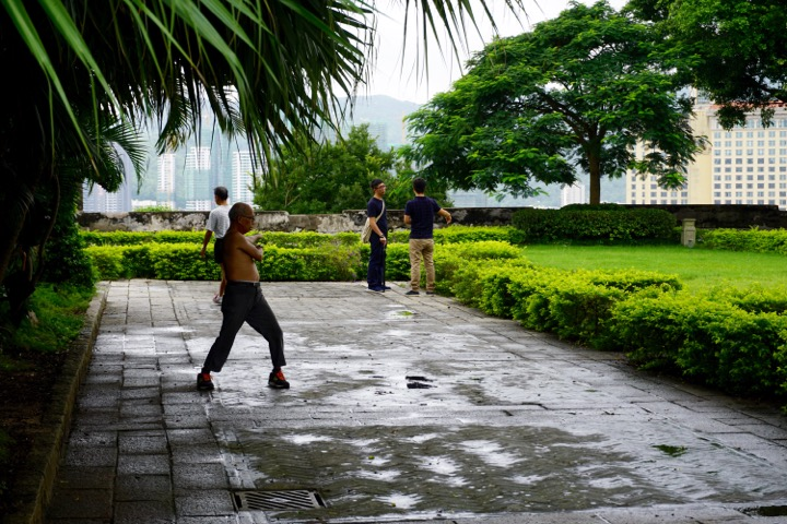 If there is a park in Macau or China, there is someone exercising.