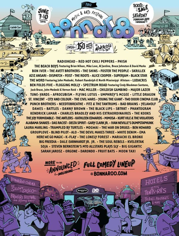 Bonnaroo Lineup Announcement-Radiohead-Phish-Bon Iver-Skrillex and more