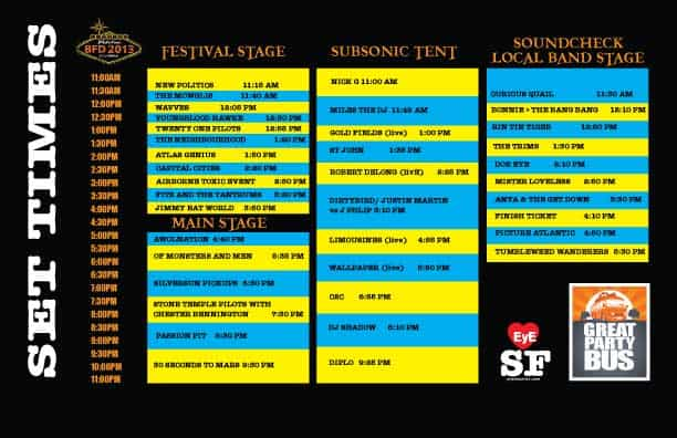 Live 105's BFD 2013 Lineup, Tickets and Set List