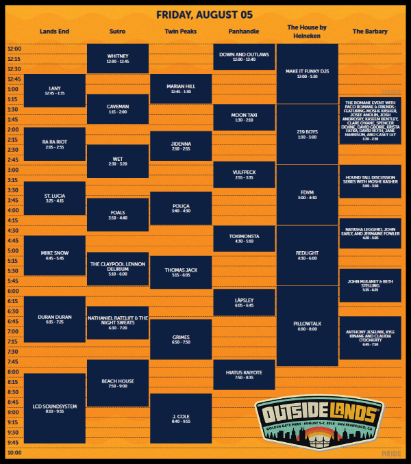 Outside Lands Set Times 2016 Friday