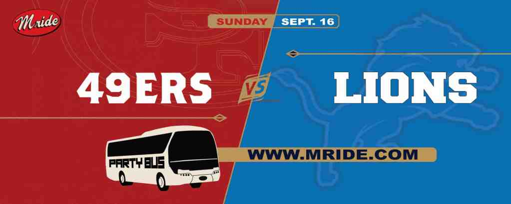 49ers vs. Lions Party Bus to Levi's Stadium