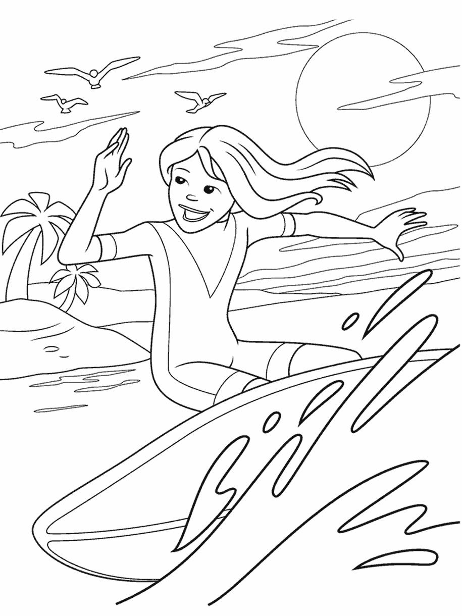 Surfer Girl Coloring Page Crayola Com