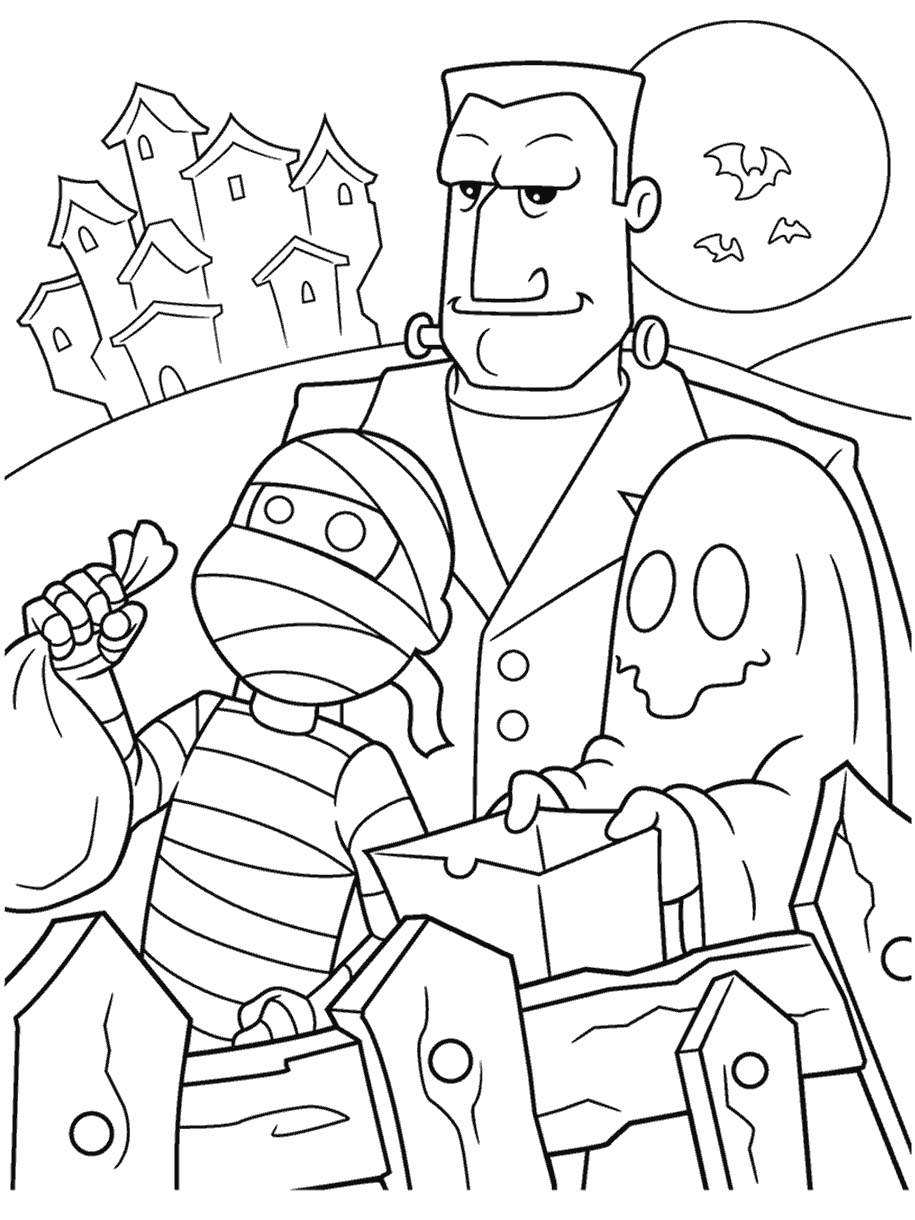 Halloween Trick Or Treaters Coloring Page Crayola Com