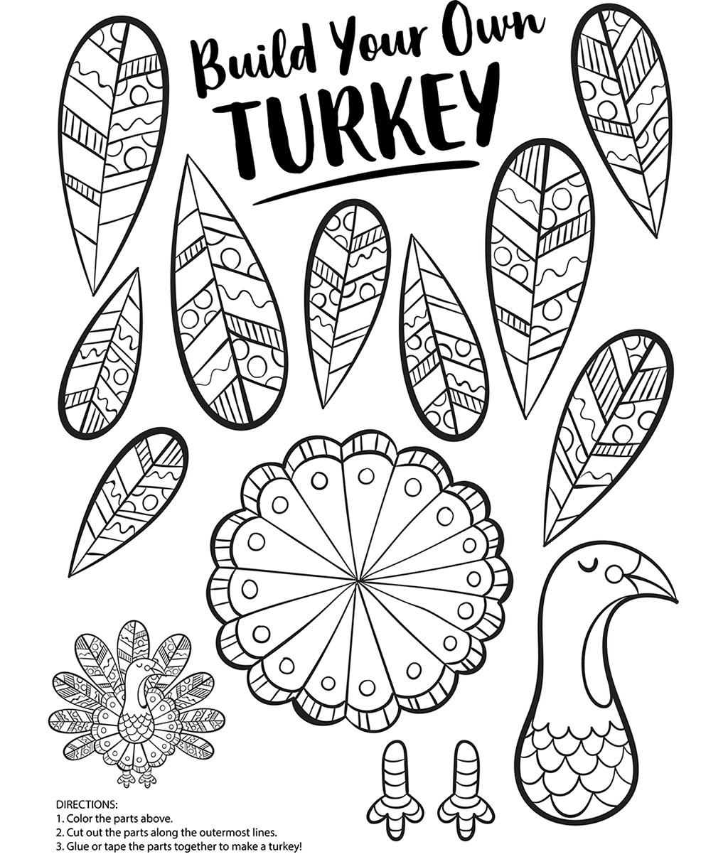 Build Your Own Turkey Coloring Page Crayola Com