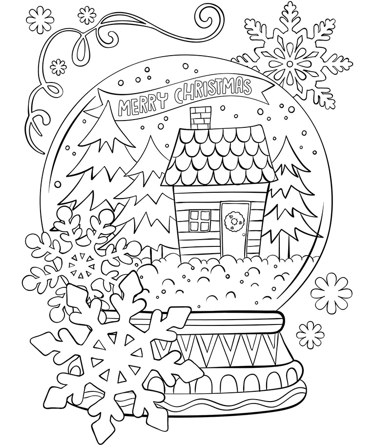Merry Christmas Snowglobe Coloring Page