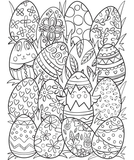 Easter Eggs Surprise Coloring Page