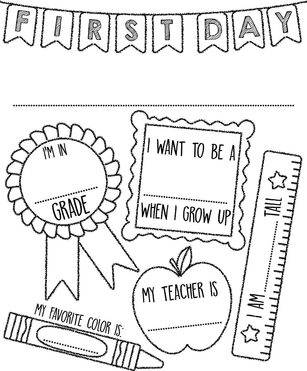 First Day Of School Sign Coloring Page