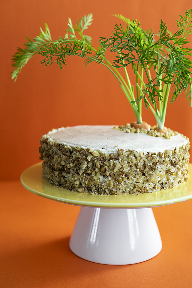 Carrot Cake with Sour Cream Frosting. Gluten-free recipe.
