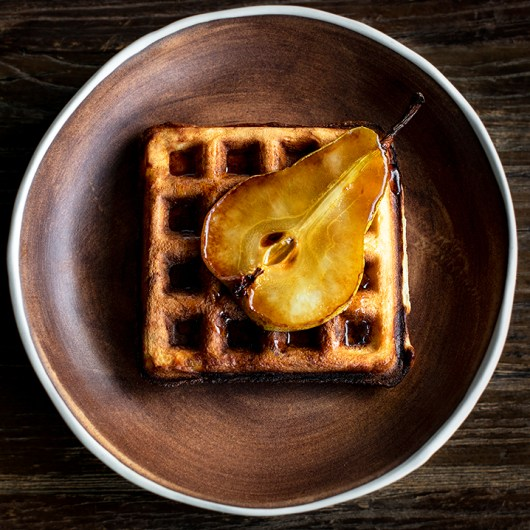 Sourdough Waffles with Caramelized Pear and Maple Syrup