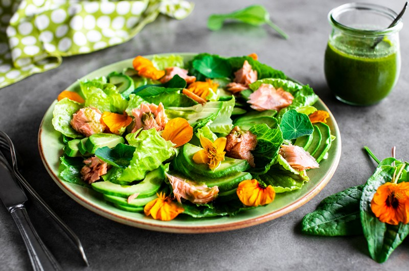 Hot Smoked Salmon Salad with Sorrel Dressing. Low Carb, Keto-friendly Recipe.