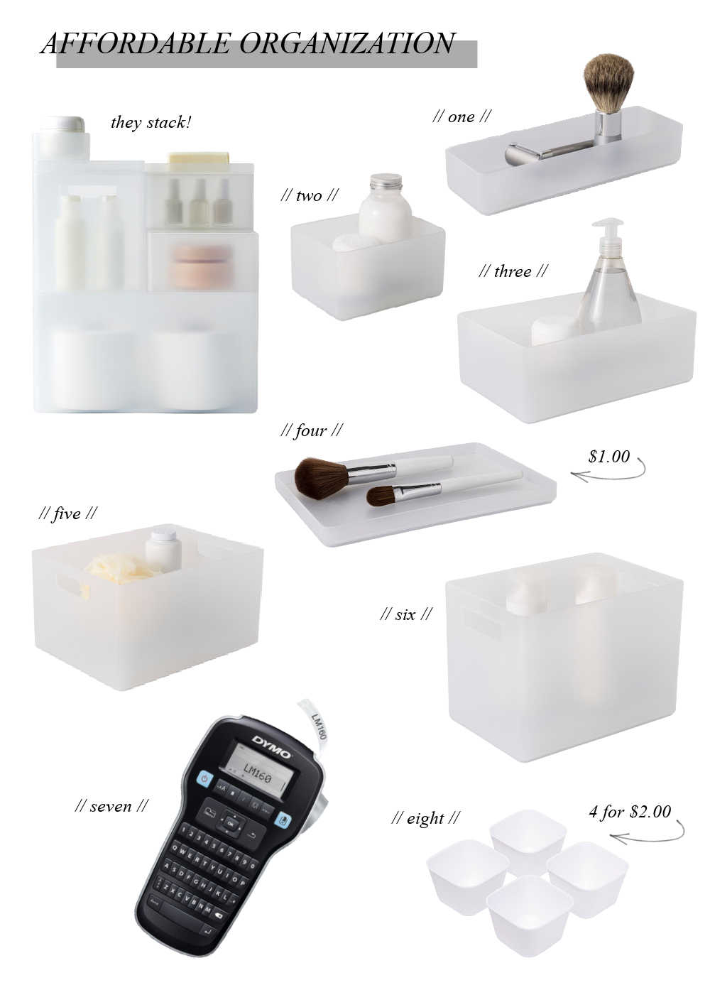 affordable organization containers