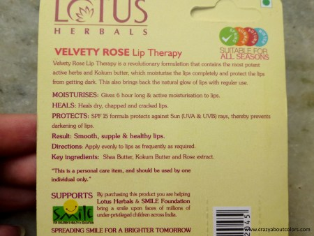 Lotus Herbals Velvety Rose Lip Therapy