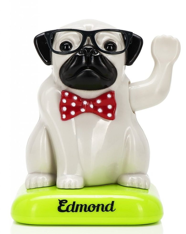 solar powered pug dog figure. best gifts for pug lovers