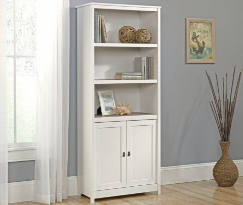 Home Office shelving. Sauder 417593 Cottage Road Library with Doors, Soft White Finish #affiliate