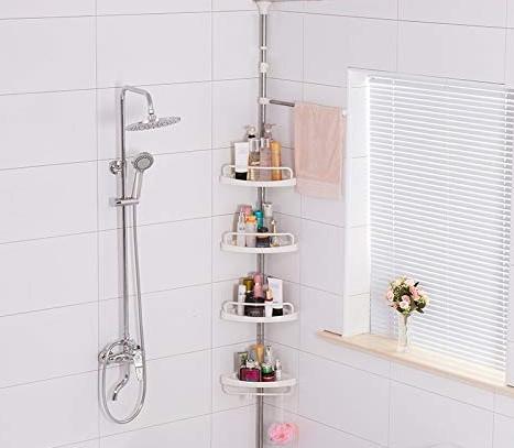 Organize a small bathroom with a bathtub organizer, shower organizer