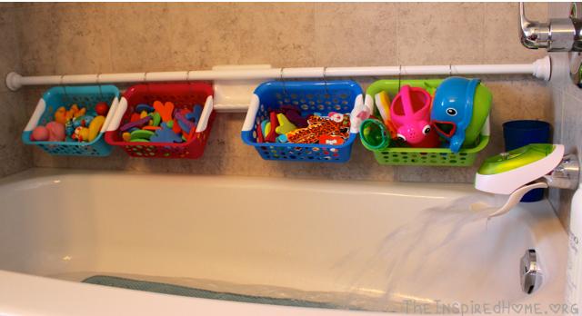 Organize a small bathroom - kid bathtub toy organization
