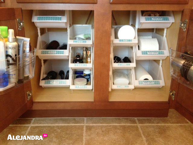 Organize a small bathroom with this cabinet organization hack