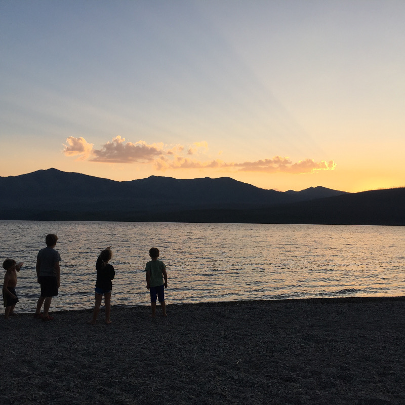 Sunset at Lake McDonald is a great thing to do in Glacier National Park with kids.