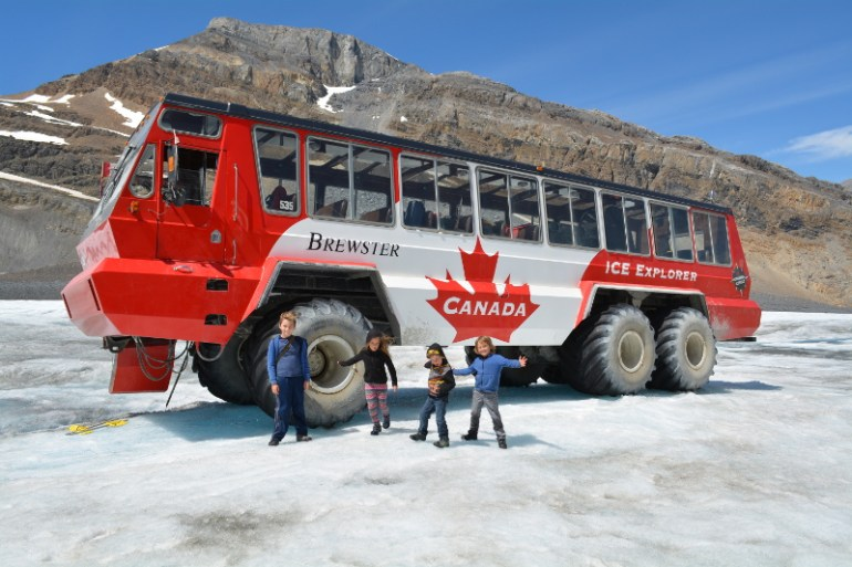 The giant Ice Explorer truck that took us out on the Athabasca Glacier in Jasper National Park