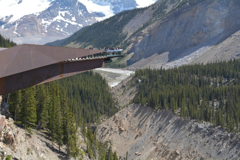 Look down 100 feet to the bottom of the valley on the Glacier Skywalk in Jasper National Park