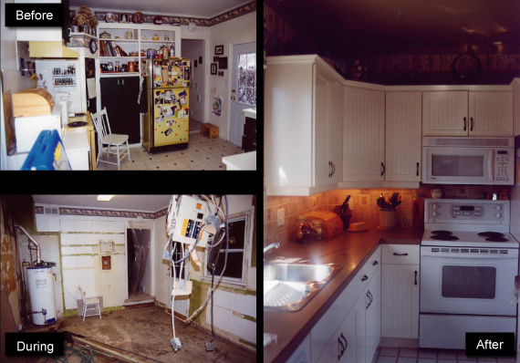 kitchen before, during and after renovation