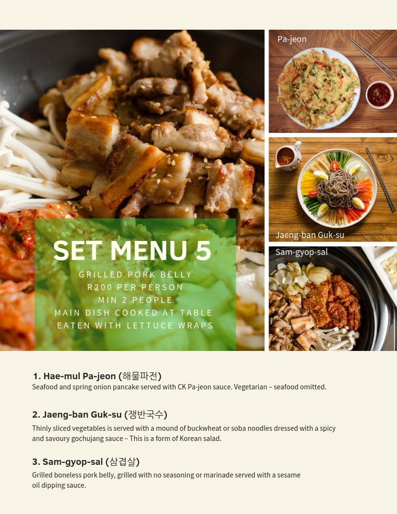 Crazy Korean Set Menu 5