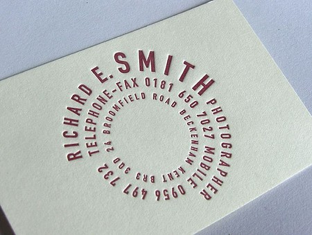 Richard E. Smith business card design