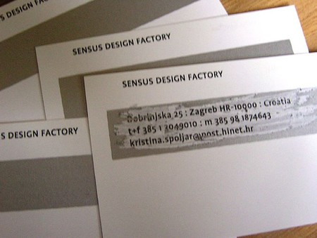 Sensus Design Factory front business card design