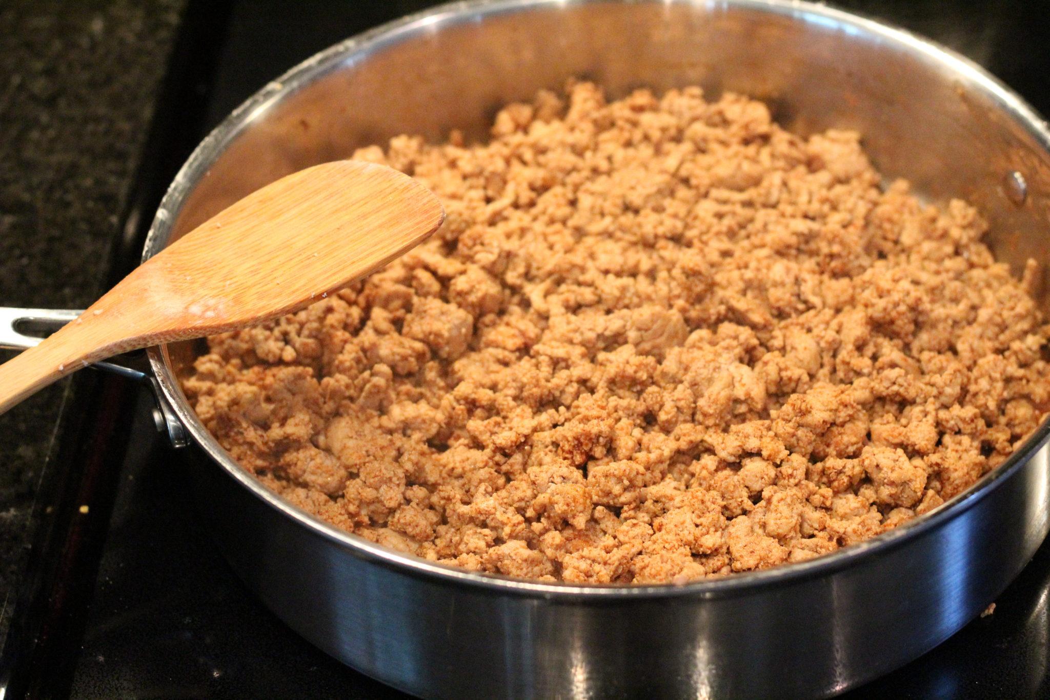 Brown ground turkey meat