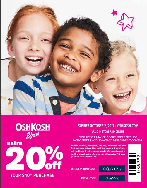 OshKosh B'Gosh Store Coupon for 20% off